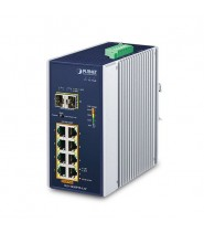 Switch Unmanaged 8-Porte 10/100/1000T 802.3at PoE + 2-Porte 100/1000X SFP con Booster 12V (-40 a 75°C)